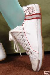 Footjob in lacy blue knee socks!